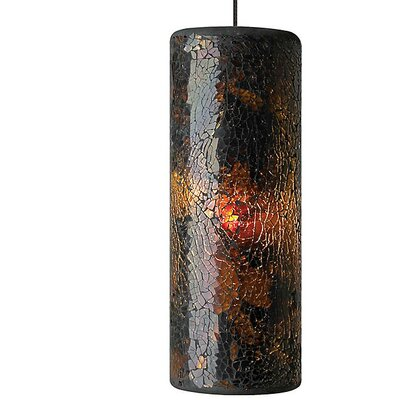 Veil 1-Light Geometric Pendant Finish: Satin Nickel, Shade Color: Brown/Gold