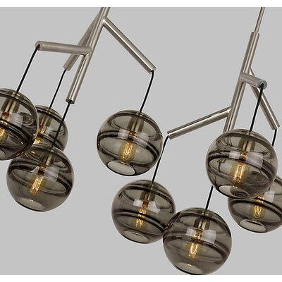 Glowacki Double Candle-Style Chandelier Finish: Satin Nickel, Shade Color: Transparent Smoke