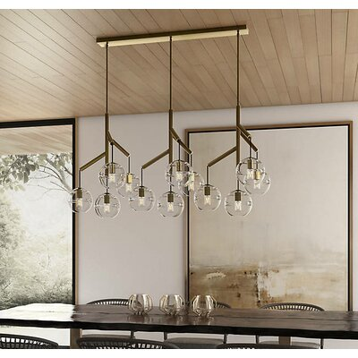 Glowacki Triple 12-Light Kitchen Island Pendant Finish: Aged Brass, Shade Color: Clear