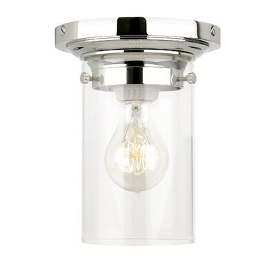 Clark 1-Light Flush Mount Shade Finish / Finish / Bulb Type: Havana Brown / Polished Nickel / Incandescent