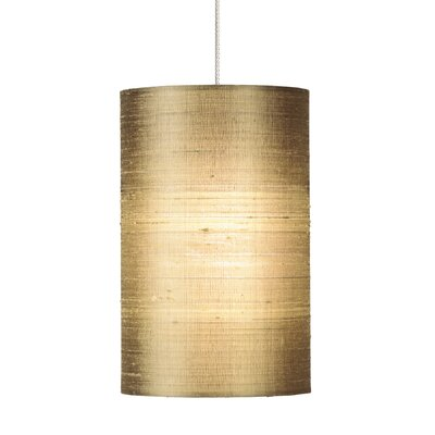 Fab 1-Light Mini Pendant Base Finish: Satin Nickel, Shade Color: Almond, Mounting Type: Monopoint