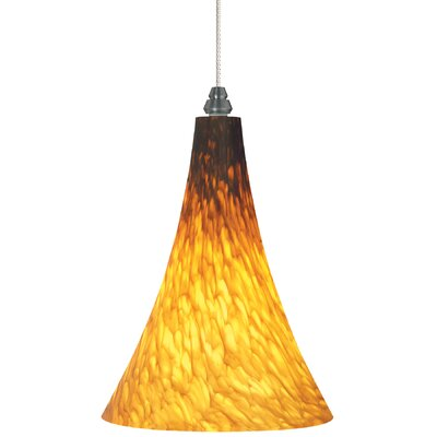Melrose 1-Light Mini Pendant Finish: Satin Nickel, Shade Color: Amber, Bulb Type: Halogen