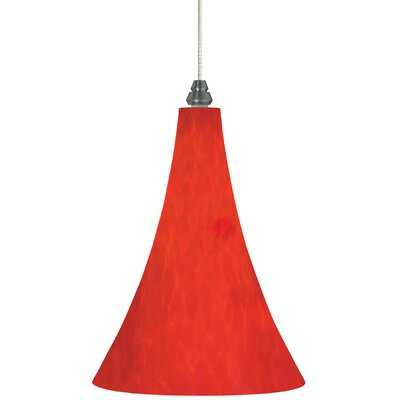 1-Light Melrose Pendant Bulb Type: Halogen, Finish: Antique Bronze, Shade Color: Red