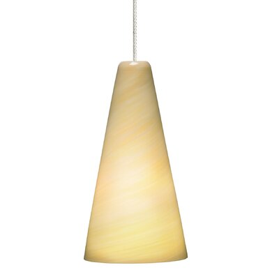 Taza 1-Light Mini Pendant Bulb Type: Halogen, Finish: Antique Bronze, Shade Color: Latte
