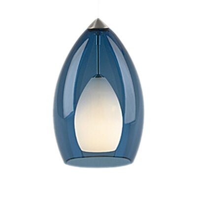 Fire Monopoint 1-Light Mini Pendant Finish: Satin Nickel, Shade Color: Steel Blue