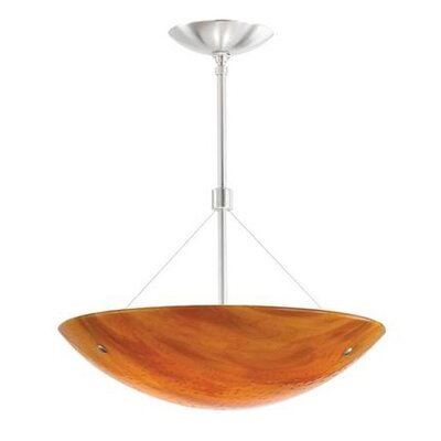 Larkspur 2-Light Bowl Pendant Finish: Satin Nickel, Shade Color: Beach Amber, Size: 14