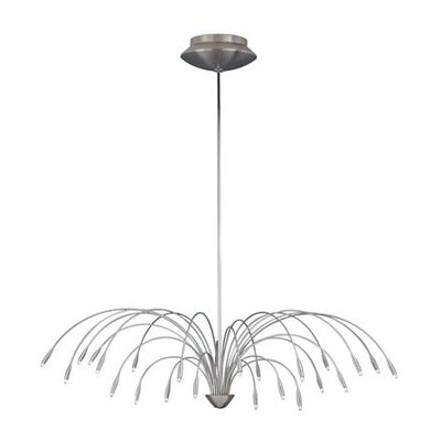 Staccato 24-Light Candle-Style Chandelier Length: 44, Finish: Satin Nickel