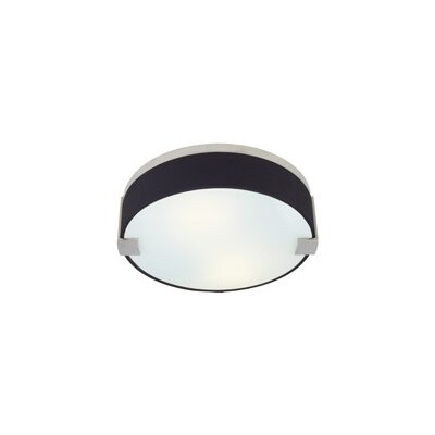 Baxter 2-Light Round Flush Mount Finish: Antique Bronze, Color: Black / Black Fabric, Bulb Type: 2 x 52W 120V Fluorescent