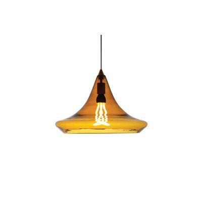 Mali 1-Light Pendant Finish: Satin Nickel, Color: Amber, Bulb Type: 1 x 60W Incandescent