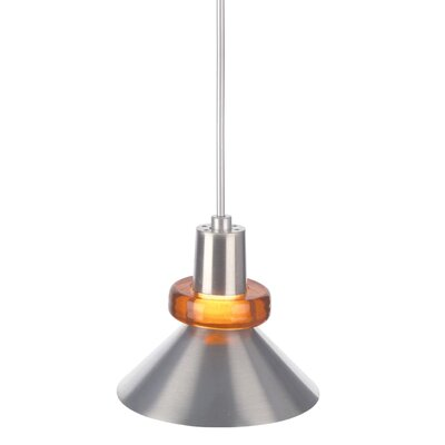 1-Light Hanging Wok Pendant Finish: Satin Nickel, Shade Color: Amber
