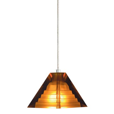 1-Light Pyramid Pendant with Canopy Finish: Satin Nickel, Shade Color: Amber