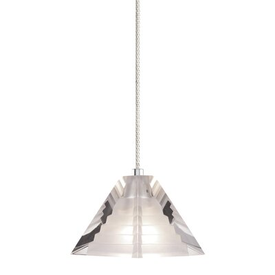 1-Light Pyramid Pendant with Canopy Finish: Satin Nickel, Shade Color: White