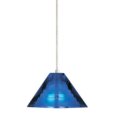 1-Light Pyramid Pendant with Canopy Finish: Satin Nickel, Shade Color: Blue