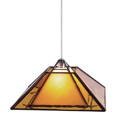 1-Light Oak Park Pendant Finish: Chrome, Shade Color: Amber