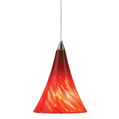 Melrose 1-Light Mini Pendant Finish: Satin Nickel, Shade Color: Red, Bulb Type: Halogen