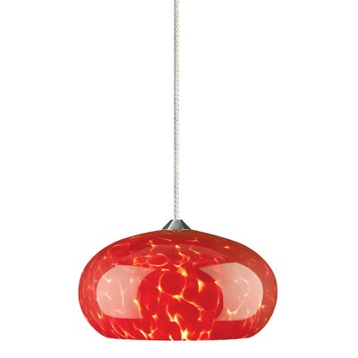Single Light Meteor Frit Pendant Finish: Antique Bronze, Shade Color: Red