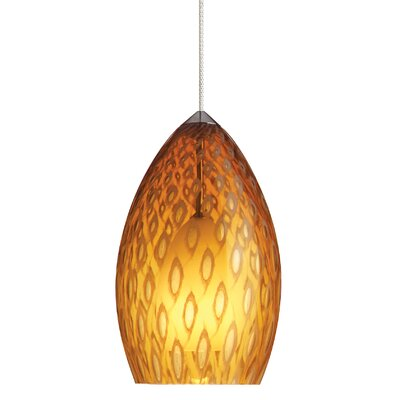 Firebird 1-Light Mini Pendant Finish: Chrome, Shade Color: Amber, Bulb Type: Halogen