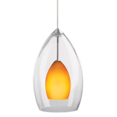 1-Light Inner Fire Pendant Finish: Satin Nickel, Shade Color: Amber