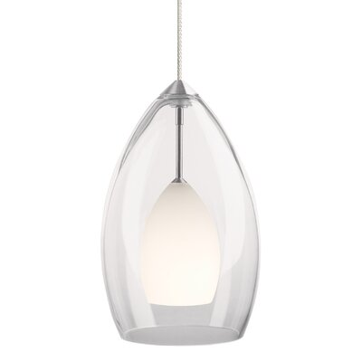 1-Light Inner Fire Pendant Finish: Chrome, Shade Color: White