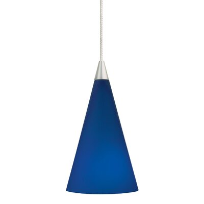 1-Light Cone Pendant Bulb Type: Halogen, Finish: Chrome, Shade Color: Blue