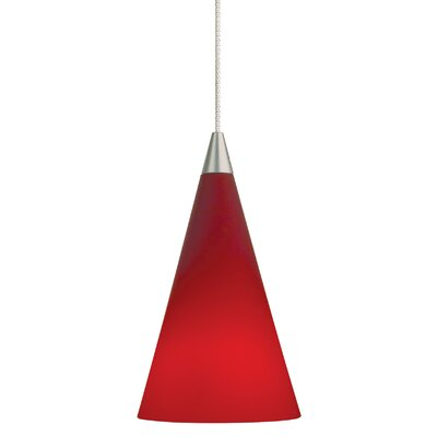 Cone 1-Light Mini Pendant Finish: Satin Nickel, Shade Color: Red, Bulb Type: Halogen