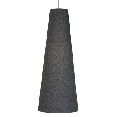 Spire 1-Light Monopoint Pendant Size: Medium, Finish: Satin Nickel, Shade: Charcoal Gray