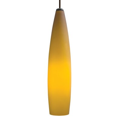 Fino 1-Light Mini Pendant Size: 39, Finish: Satin Nickel, Shade: Amber