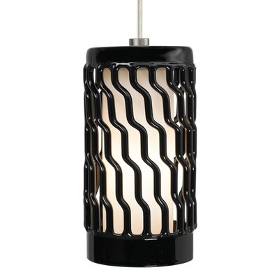 Liza 1-Light Mini Pendant Finish: White, Bulb Type: Fluorescent, Shade Color: Black