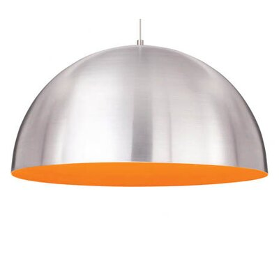 Powell Street 1-Light Inverted Bowl Pendant Bulb Type: 1x32W 277V FL, Finish: White, Shade Color: Satin Nickel / Sunrise Orange