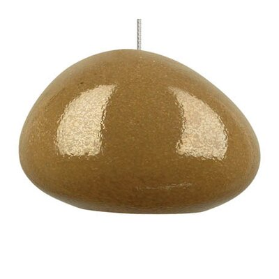 River Rock 1-Light Mini Pendant Finish: Satin Nickel, Color: Pebble Brown