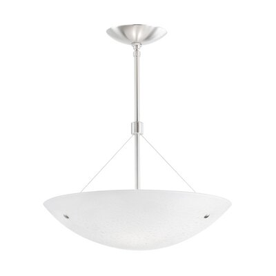 Larkspur Inverted Fluorescent 2-Light Pendant Finish: Satin Nickel, Shade Color: Surf White, Size: 24