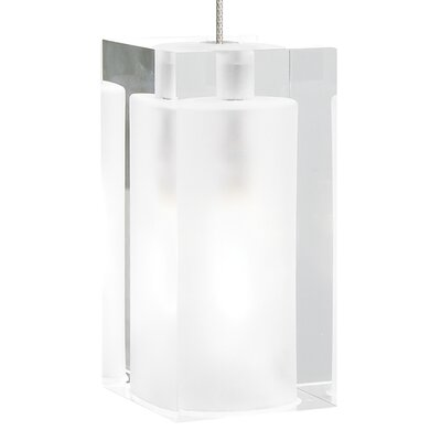 Solitude 1-Light Mini Pendant Shade Color: White, Finish: Satin Nickel