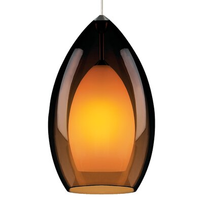 Fire Grande 1-Light 1-Circuit Mini Track Pendant Finish: Satin Nickel, Bulb Type: Incandescent, Shade Color: Havana Brown