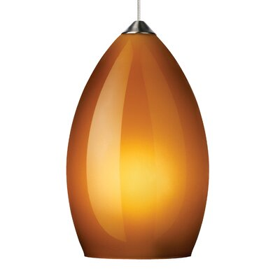 Firefrost 1-Light Mini Pendant Base Finish: Satin Nickel, Shade Color: Amber