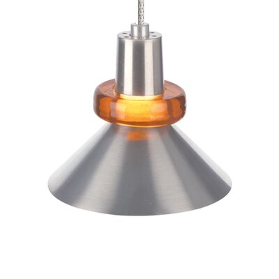1-Light Hanging Wok Two-Circuit Monorail Track Pendant Finish: Chrome, Shade Color: Red