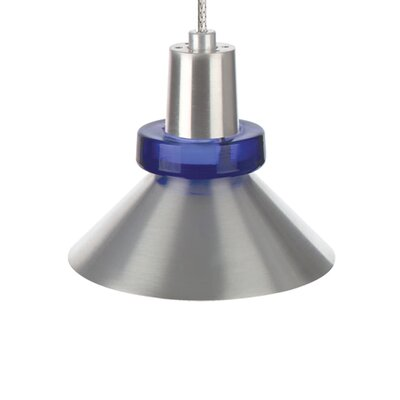 1-Light Hanging Wok Two-Circuit Monorail Track Pendant Finish: Satin Nickel, Shade Color: Blue / Cobalt