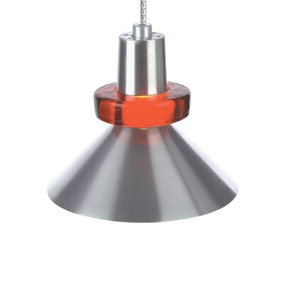 1-Light Hanging Wok Monorail Track Pendant Finish: Satin Nickel, Shade Color: Red