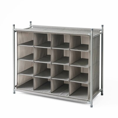 Harmony Twill Stackable 16 Cubby Shoe Rack