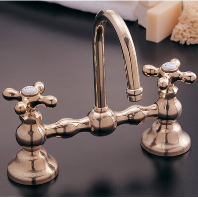 Columbia Bathroom Sink Faucet Double Handle with Drain Assembly Finish: Supercoat Brass
