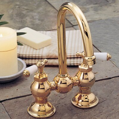 Columbia Bathroom Faucet Double Handle with Drain Assembly Finish: Supercoat Brass