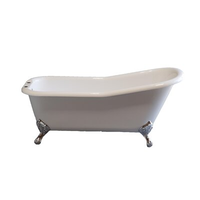 Folsom 67 x 30 Soaking Bathtub Leg Finish: Supercoated Brass, Faucet Mount: 7 Center Deck Mount Holes