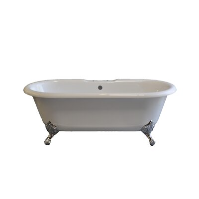 Arcadia 66 x 31 Soaking Bathtub Leg Finish: Nickel, Faucet Mount: 7 Center Deck Mount Holes