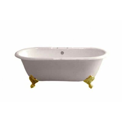 Mendocino 62 x 31 Soaking Bathtub Leg Finish: Supercoated Brass, Faucet Mount: 7 Center Deck Mount Holes