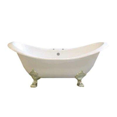 Crescent 72 x 32 Soaking Bathtub  Leg Finish: Matte Nickel, Faucet Mount: 7 Center Deck Mount Holes