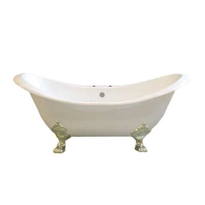 Crescent 72 x 32 Soaking Bathtub  Leg Finish: Nickel, Faucet Mount: 7 Center Deck Mount Holes