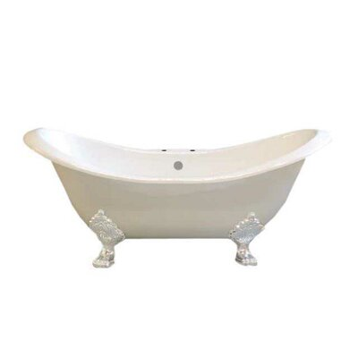 Crescent 72 x 32 Soaking Bathtub  Leg Finish: White, Faucet Mount: 7 Center Deck Mount Holes