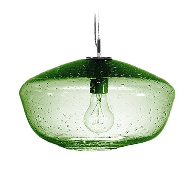 Fizz Galaxy 1-Light Pendant Finish: Nickel with Silver Nylon Wire, Shade Color: Emerald
