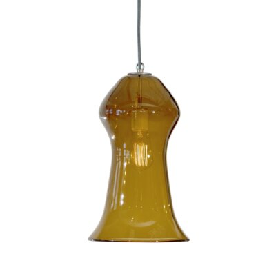 Vesuvius Gama 1-Light Pendant Shade Color: Amber, Finish: Nickel with Silver Nylon Wire