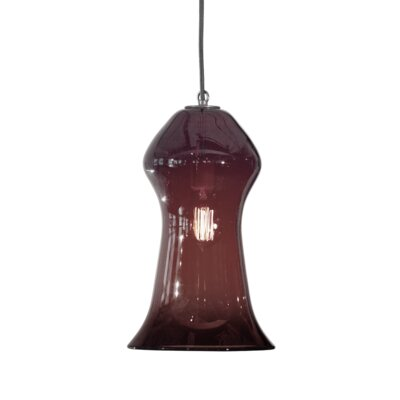 Vesuvius Gama 1-Light Pendant Finish: Nickel with Silver Nylon Wire, Shade Color: Amethyst