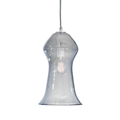 Vesuvius Gama 1-Light Pendant Shade Color: C-Thru, Finish: Nickel with Silver Nylon Wire